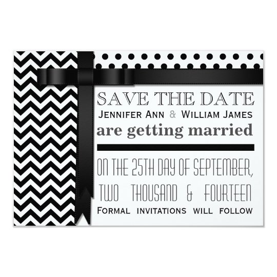 Chevron Zig Zags and Polka Dots Save the Date Card