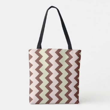 Beach Themed Chevron zigzag brown pastel pink green tote bag