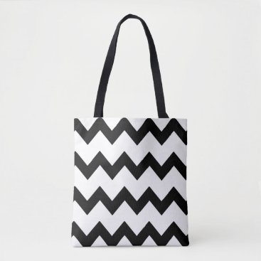 Beach Themed Chevron zigzag design black white tote bag