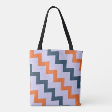 Beach Themed Chevron zigzag design dark blue orange on lilac tote bag