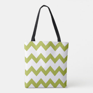 Chevron zigzag design green white tote bag