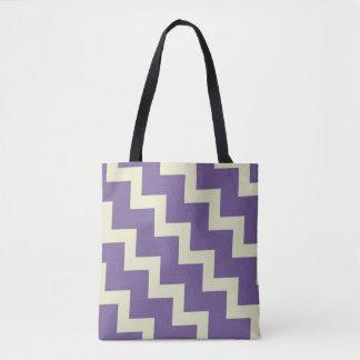 Chevron zigzag design in purple and pale green tote bag