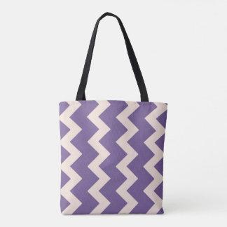 Chevron zigzag design in purple and pale pink tote bag