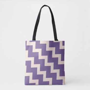 Beach Themed Chevron zigzag design in purple and pale pink tote bag