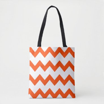 Beach Themed Chevron zigzag design orange white tote bag