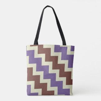 Chevron zigzag design purple brown pale green tote bag