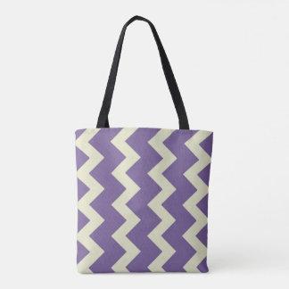 Chevron zigzag design purple pale green tote bag
