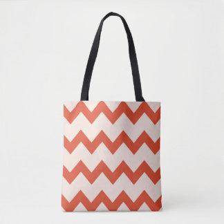 Chevron zigzag design red fury divine pink tote bag
