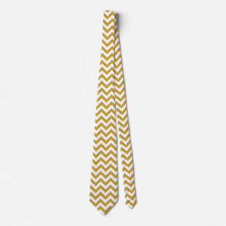 Chevron Zigzag Lines Satin Sheen Gold Tie