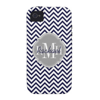 Chevron Zigzag Navy Blue Pattern Monogram Case For The iPhone 4