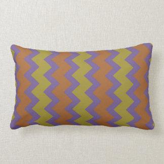 Chevron zigzag pale bright purple green brown pillow