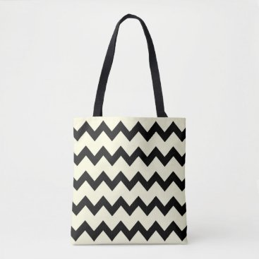 Beach Themed Chevron zigzag pattern black and cream tote bag