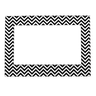 Chevron Zigzag Pattern Black and White Magnetic Photo Frame