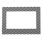 Chevron Zigzag Pattern Black and White Picture Frame Magnet