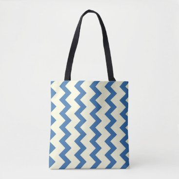 Beach Themed Chevron zigzag pattern denim blue and cream tote bag