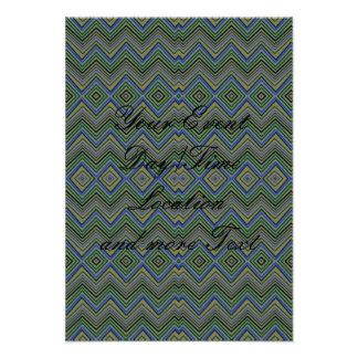 chevron zigzag pattern green custom invite