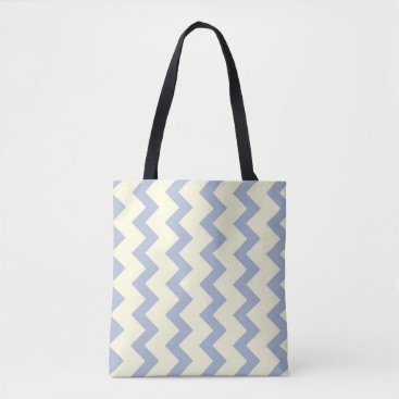 Beach Themed Chevron zigzag pattern ice blue and cream tote bag