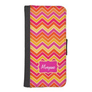 Chevron zigzag pattern pink orange name flap case phone wallet