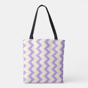 Beach Themed Chevron zigzag pattern purple and cream tote bag
