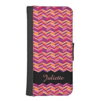 Chevron zigzag pattern salmon pink name flap case iPhone 5 wallet