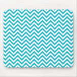 Chevron Zigzag Pattern Teal Blue and White Mousepad