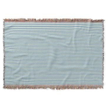 Beach Themed Chevron zigzag pattern two tone denim blue cream throw