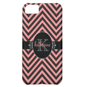 Chevron Zigzag Pattern with Monogram Pink | Black iPhone 5C Case