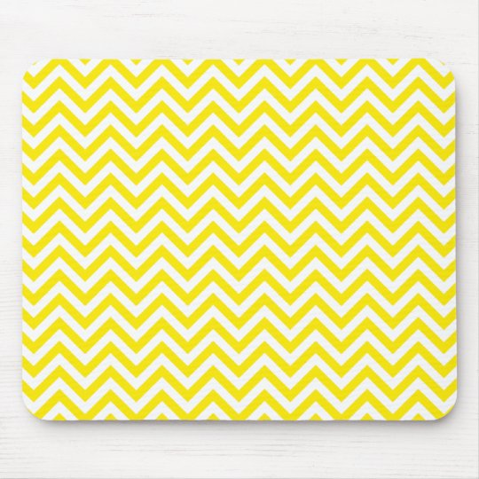 Chevron Zigzag Pattern Yellow and White Mouse Pad