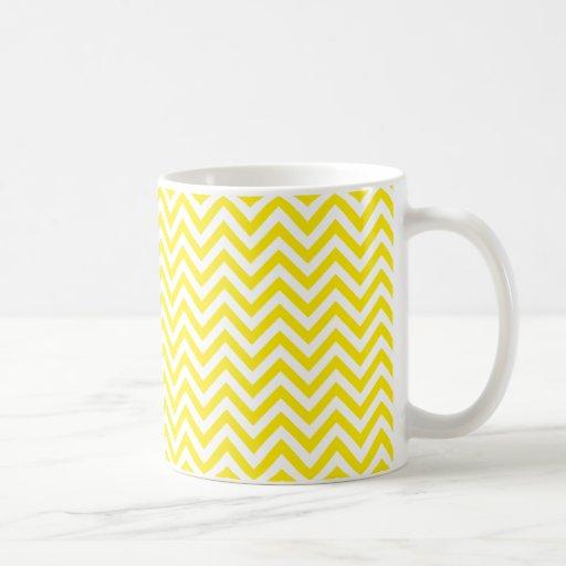 Chevron Zigzag Pattern Yellow and White Mugs