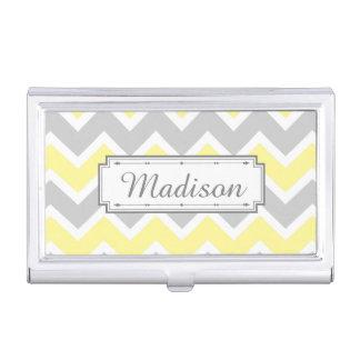 Chevron Zigzag Pattern Yellow Gray Monogram Business Card Holder