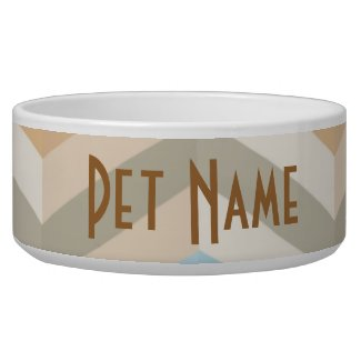 Chevron Zigzag Personalized Pet Dish
