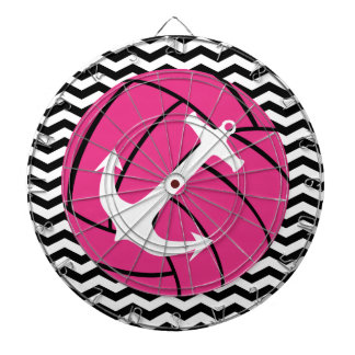 Chevron Zigzag Pink Volleyball & Anchor Dartboard