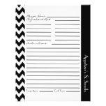 Chevron Zigzag Striped Recipe Sheets - Black White Custom Flyer
