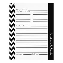 Chevron Zigzag Striped Recipe Sheets - Black White Flyer