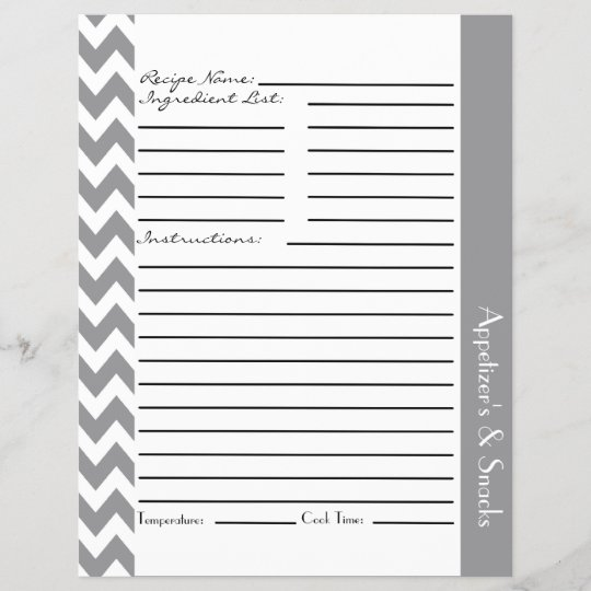 chevron zigzag striped recipe sheets gray zazzle com