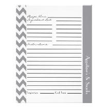 Chevron Zigzag Striped Recipe Sheets - Gray Flyer