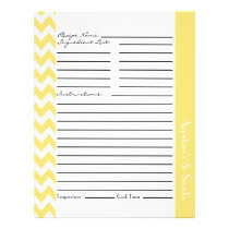 Chevron Zigzag Striped Recipe Sheets - Lemon Flyer