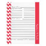 "Chevron Zigzag Striped Recipe Sheets - Rose Red 8.5"" X 11"" Flyer"