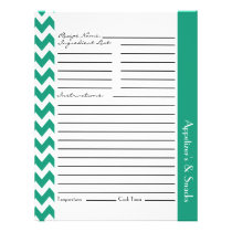 Chevron Zigzag Striped Recipe Sheets - Teal Flyer