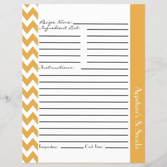 chevron zigzag striped recipe sheets yellow zazzle com
