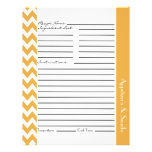 Chevron Zigzag Striped Recipe Sheets - Yellow Flyer