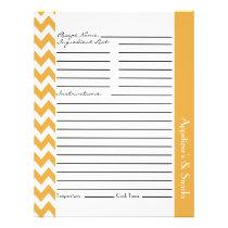 Chevron Zigzag Striped Recipe Sheets - Yellow Flyer