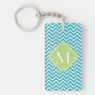 Chevron Zigzag Stripes with Monogram Key Chain