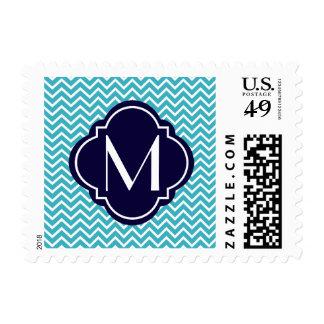 Chevron Zigzag Stripes with Monogram Postage Stamp