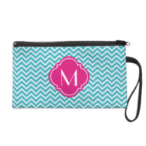 Chevron Zigzag Stripes with Monogram Wristlet