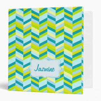 Chevron zigzag teal lime yellow name binder folder