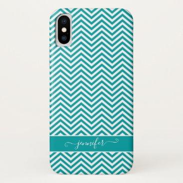 Chevron Zigzag Teal Turquoise Script Modern iPhone X Case