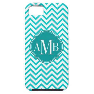 Chevron Zigzag Turquoise Pattern Monogram iPhone 5 Covers