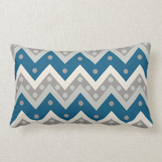 Chevrons and dots - grey and cadet blue pillow