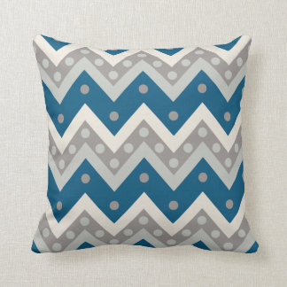 Chevrons and dots - grey and cadet blue throw pillow